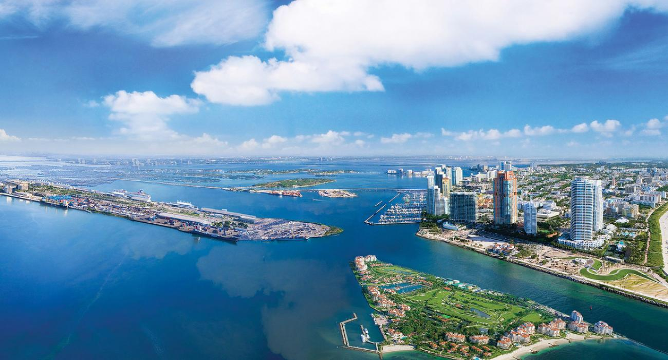 image of Expansive bay and views from bustling downtown Miami